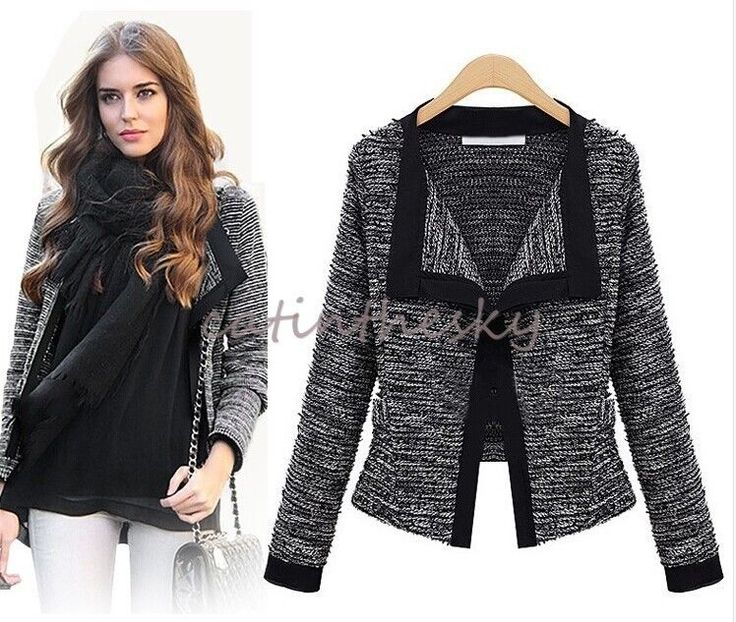 Women's New Long Sleeve Tweed Blazer Jacket Suit Coat Jumper Sweater  Cardigan in Clothes, Shoes