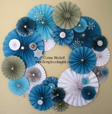 163 best rosette images on pinterest paper flowers bricolage and blue paper fan wreath mightylinksfo Choice Image