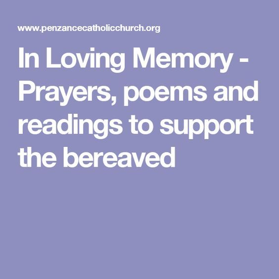 In Loving Memory - Prayers, poems and readings to support the bereaved