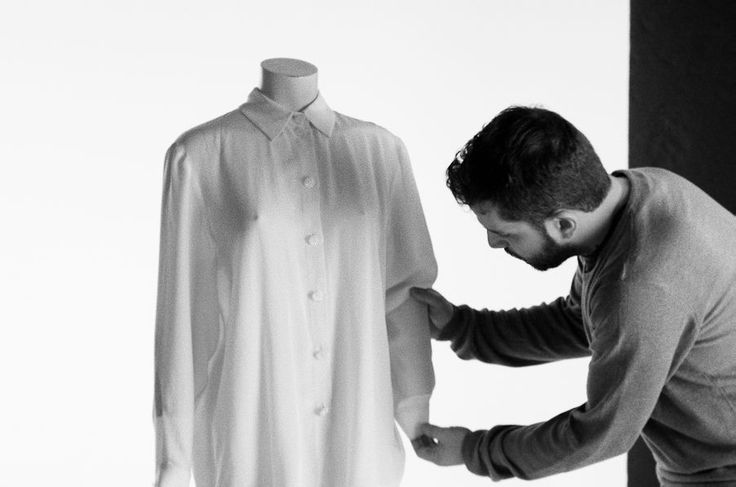 A day at the studio- Nick is photographing our new silk shirts for the shop!