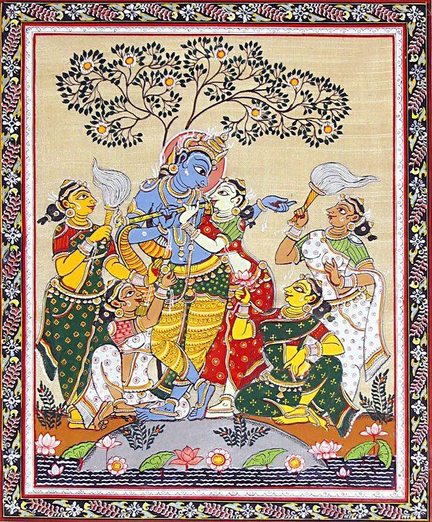 Radha Krishna with Four Gopinis (Orissa Paata Painting on Tussar Silk - Unframed))