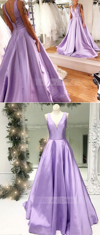Elegant Lilac Satin V Neck A Line Long Prom Dresses Lavender Satin Evening Gown With V Back Light Purple Prom Dress Lavender Prom Dresses Satin Prom Dress [ 1500 x 640 Pixel ]