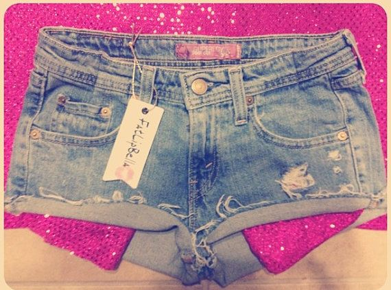 Pink sparkling Pockets distressed shorts by ZamGhuden on Etsy, $29.99