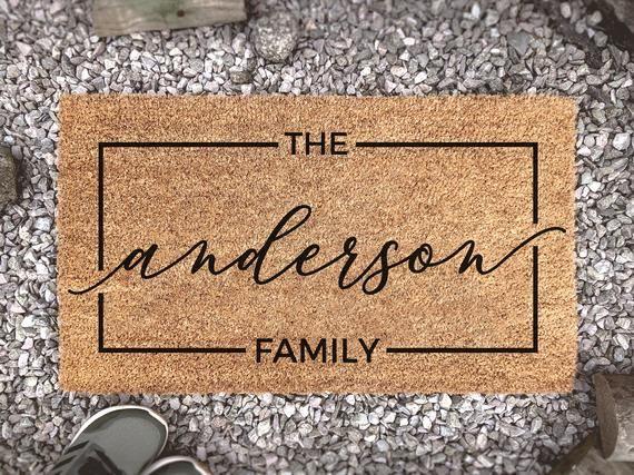 Personalized Last Name CHEVRON Family Welcome Doormat Custom Door Floor Mat GIFT