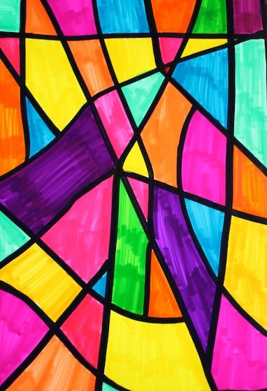 Sharpie art made to look like stained glass