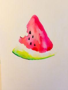 Watercolor Watermelon illustration #watercolor #illustration #drawing