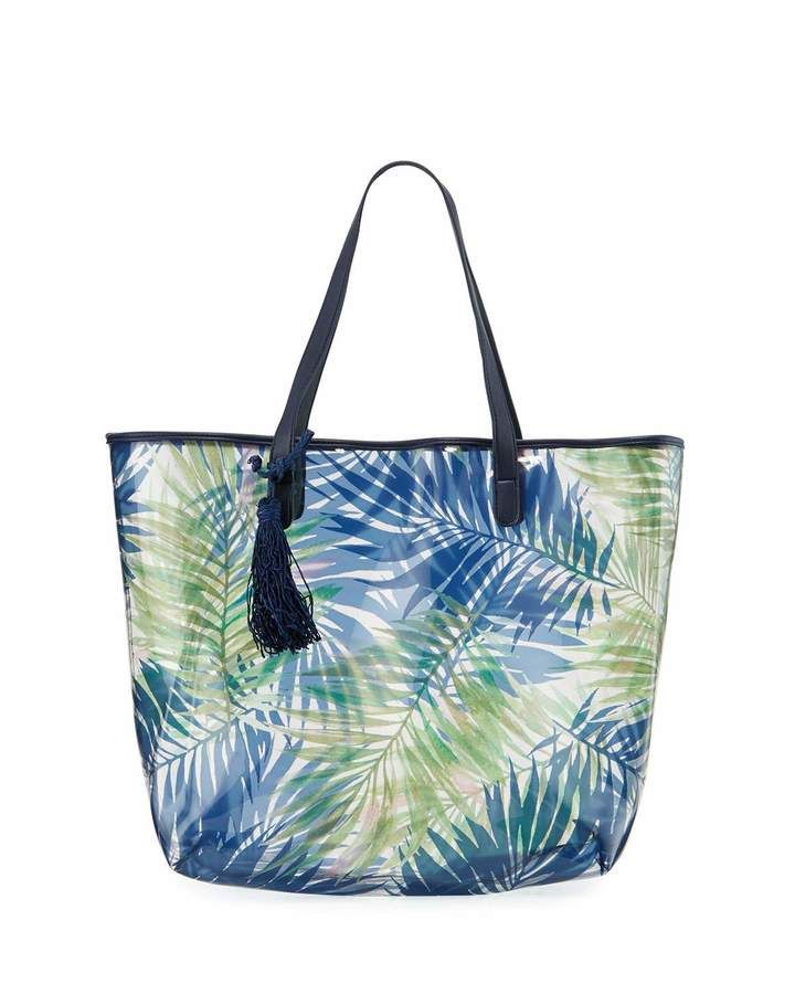 Neiman Marcus Clear Palm Leaf Print Tote Bag, Navy