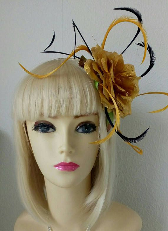 Large gold rose hat head dress vintage burlesque style wedding outfit races  head piece fascinator hair flower navy blue feathers pink 7eb216c3450