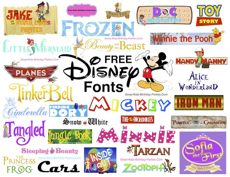 Free Disney Fonts - More than 85 Disney fonts. Make invitations, party labels and lots more.