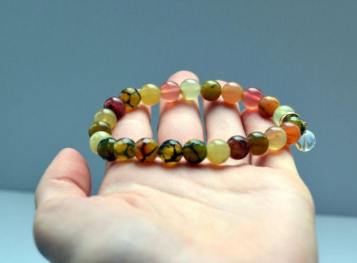 Colorful Tourmaline and Moss Green Agate, nature inspired beaded bracelet #Oyaikubijou #Beaded