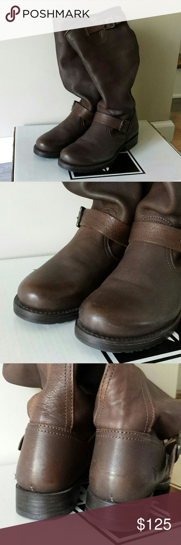 Frye Veronica Slouch Boots Authentic Frye boots with original box. Excellent condition! Only worn a handful of times. Barely any signs of wear. Amazing deal on high end, quality boots. Dark brown size 8.5. Frye Shoes