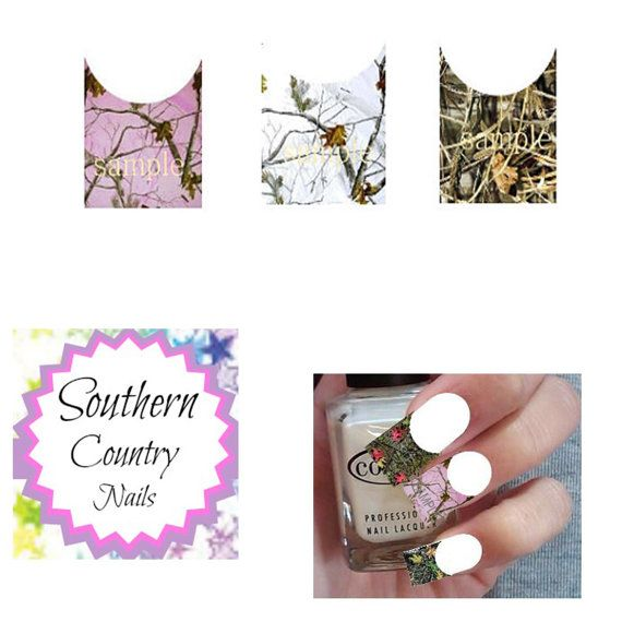 French Tip Camo Nail Art Decals Decal Nail by SouthernCountryNails