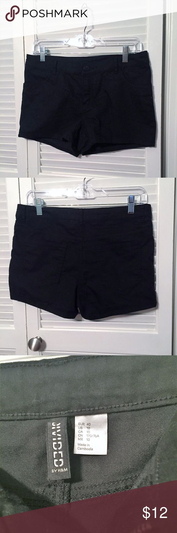 """Black Divided by H&M Shorts (sz 10) Divided by H&M black shorts. 69% cotton / 29% poly. Inseam 2.5"""".  Size 10. H&M Shorts"""