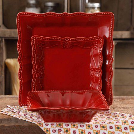 Free Shipping. Buy The Pioneer Woman Paige Square Dinnerware Set, 12-Piece at Walmart.com