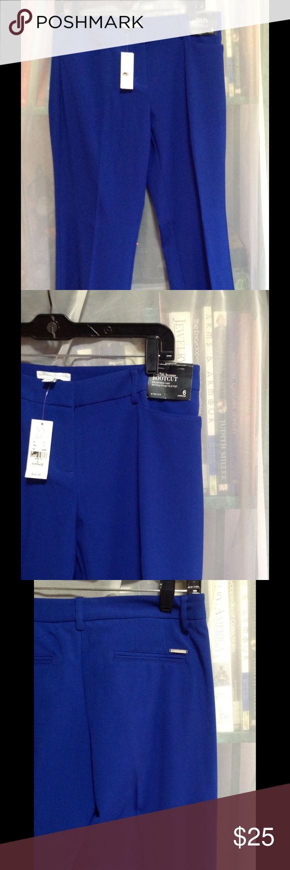 NEW YORK & COMPANY ROYAL BLUE SLACKS These are boot cut slacks,  a metal plate on the back pocket with the NEW YORK & CO LOGO.  This is a size 6 Average. Front zipper, 4 pockets, 64% polyester, 32% rayon, 4% spandex. Pants Boot Cut & Flare