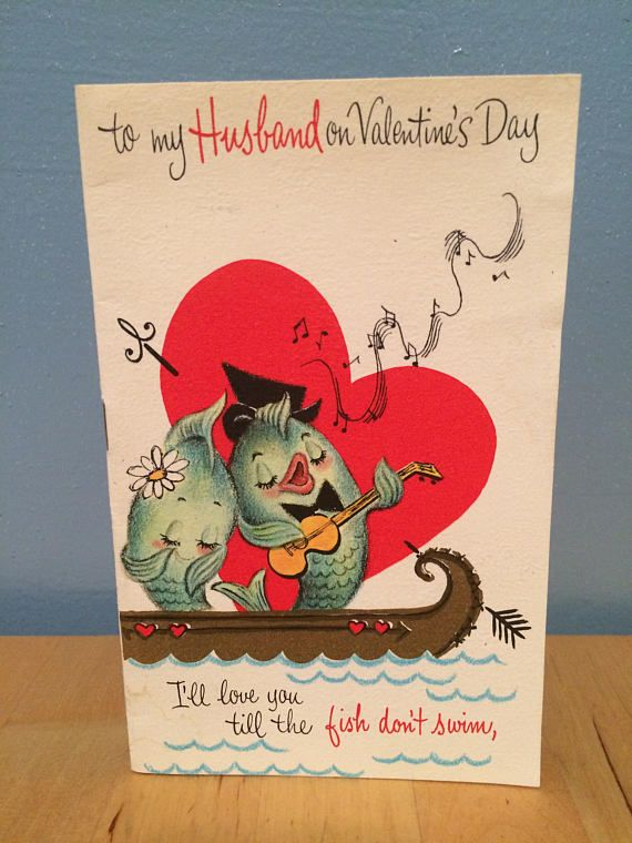 vintage valentine's day card husband 60's multi page