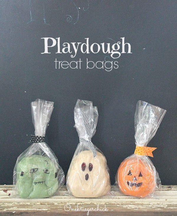 Halloween Playdough Treat Bags...how cute! Non food idea. Monster fun :)
