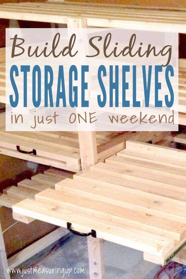 Looking For Garage Or Basement Organization Build These Sliding Storage Shelves From 2x4s Garage Storage Shelves Diy Garage Storage Shelves Diy Garage Storage