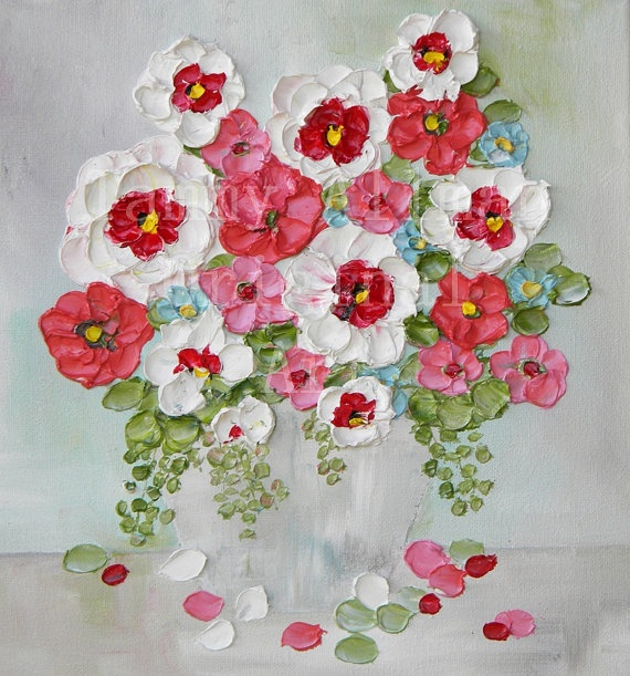"""Oil Painting impasto canvas painting """"Vintage Melons and Reds"""" Palette Knife Painting, Mothers Day, Wedding,"""