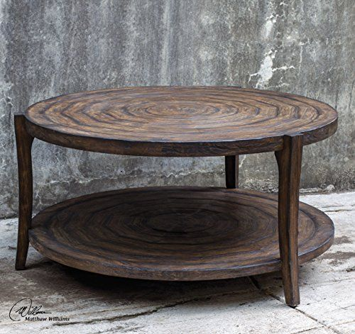Distressed Cottage Round Circles Coffee Table Wood Loft Dark My Swanky Home