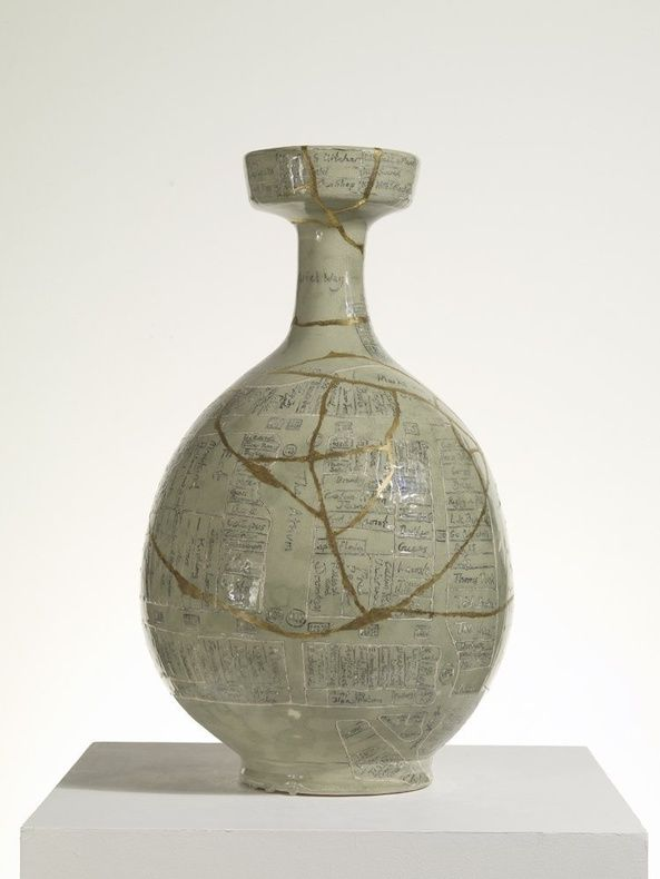 Collaboration between Grayson Perry and Bouke de Vries. This is an interesting vase to read about...if you like that kind of thing.... The Westfield Vase, 2009glazed ceramic, 39.7 x 40 x 67.6 cm  15 5/8 x 15 3/4 x ...