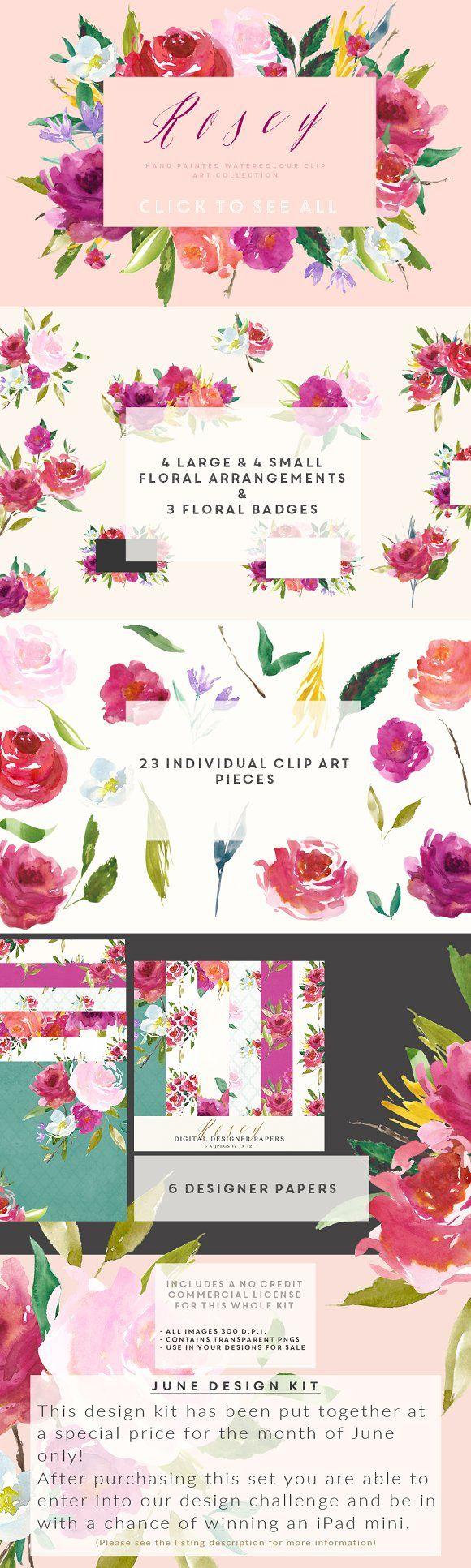 Watercolour Flower Clip Art - Rosey by CreateTheCut on @creativemarket