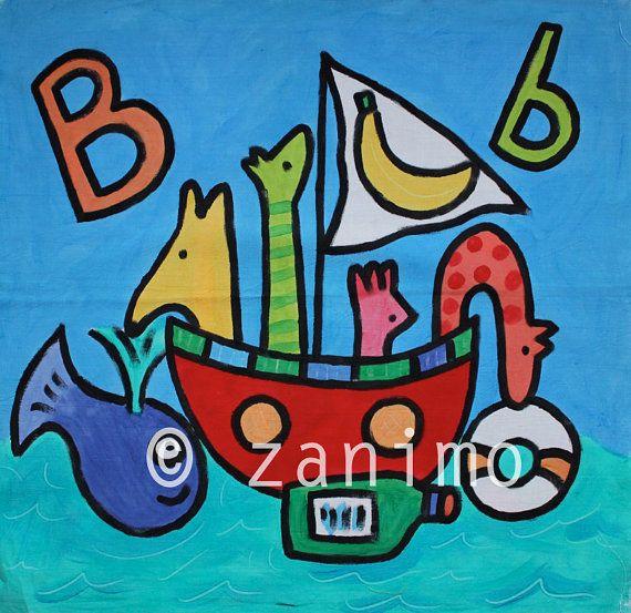 B is for boat banana and buoy Noah's funny ark  cute by Zanimo, $15.00
