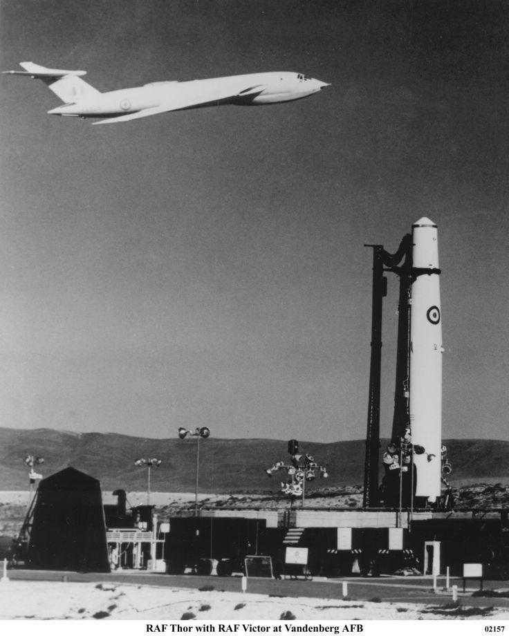 Handley-Page Victor overflying RAF Thor missile at Vandenberg AFB, California.