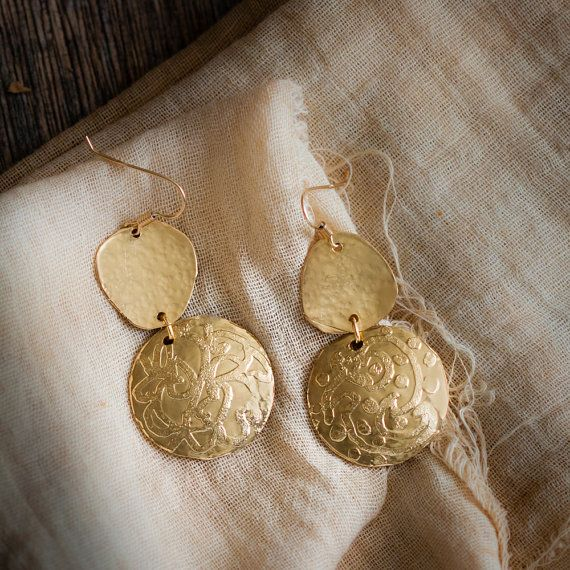 Handcrafted earrings, totally handmade.    In 18K gold plated and vitrified brass.  Upper element hand hammered, lower element slightly domed and acid bath engraved