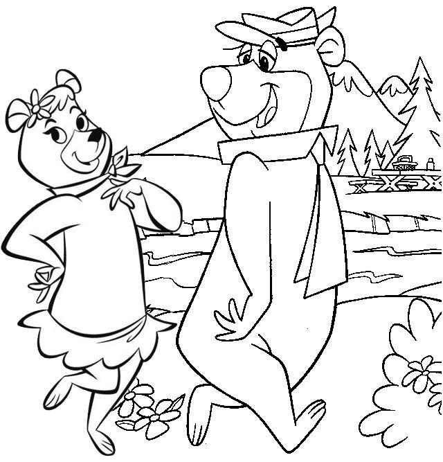 Yogi And Cindy Bear Walking Coloring Page Bear Coloring Pages Coloring Pages Yogi Bear