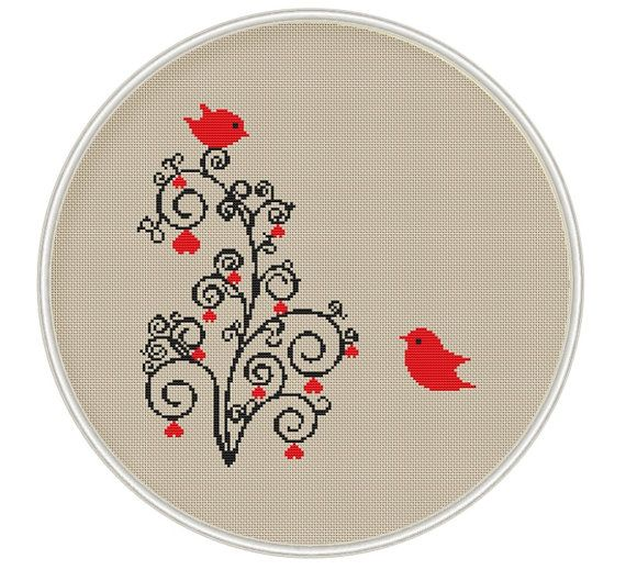 Counted cross stitch pattern, Instant Download, Free shipping, Cross-Stitch PDF, Love tree