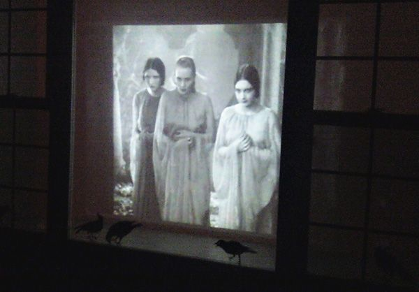 Stretch a white sheet in the front window of the house and hide a projector connected to a laptop.  Show an old, black-and-white  Dracula movie or other silent video in the window.