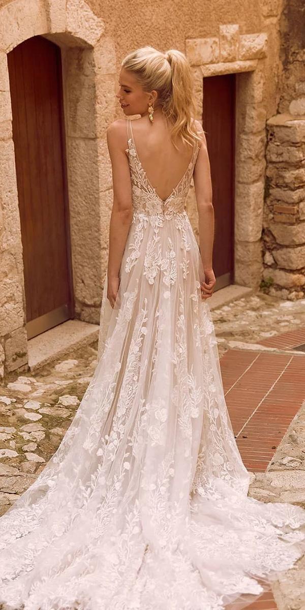 36 Gorgeous A-Line Wedding Dresses ❤ a line wedding dresses v back with train …