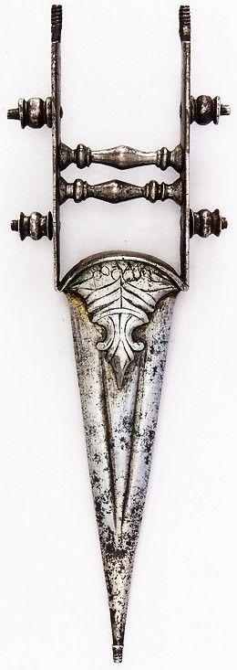 Indian katar (model), 19th century,  H. 7 7/8 in. (20 cm); W. 2 11/16 in. (6.8 cm); Wt. 4.7 oz. (133.2 g), Met Museum, Bequest of George C. Stone, 1935. #51