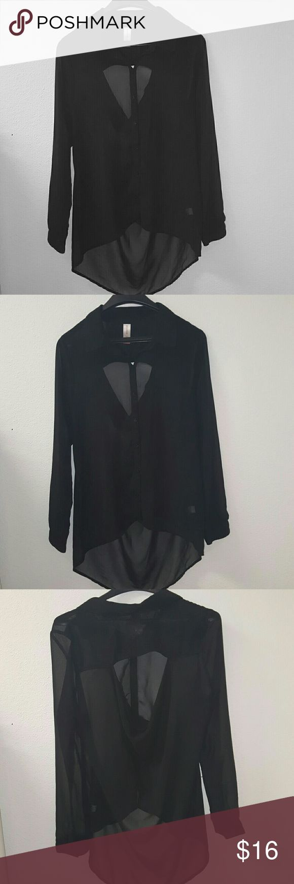 ❤1 day sale today only❤ Black hi-low open back chiffon long sleeve button up top. No Boundaries Tops Button Down Shirts