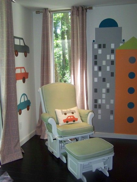 Cute! Little boy room love the chair by the window! And the cars on the wall