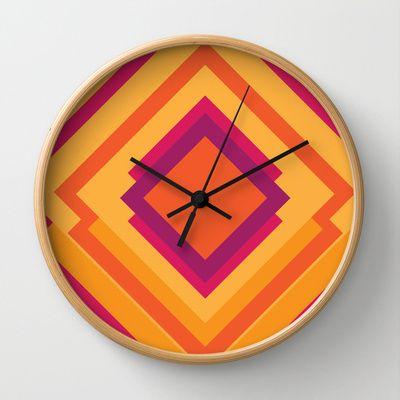 Diamond Dayze Wall Clock by clickybird - Belinda Gillies - $30.00