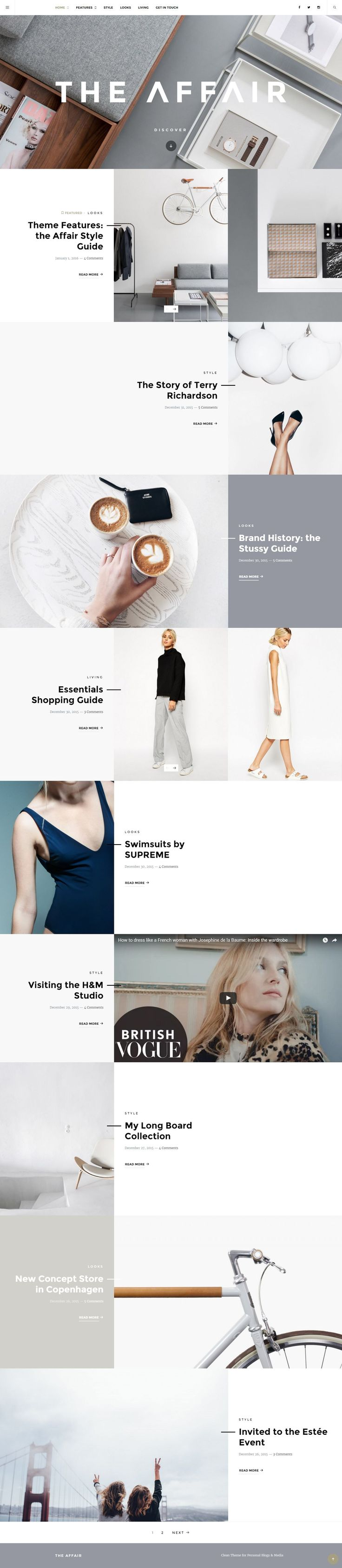The Affair is a clean responsive WordPress theme for personal blogs and magazines.  Enjoy the minimalist look, well-thought typography and various post format options, including slideshows, galleries, featured text and images.  Share your great stories with the Affair.