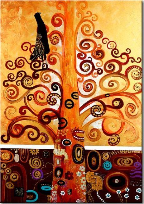 Elegancki obraz na ścianę inspirowany secesyjną sztuką Gustava Klimta - idealna dekoracja do salonu!