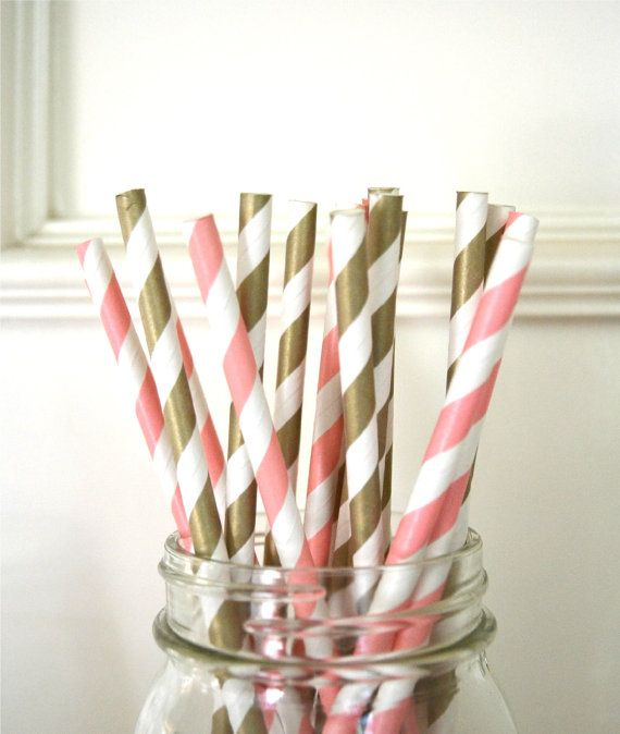 Paper Straws set of 30 GOLD & PINK, Little Princess party, Gold and pink baby shower on Etsy, $4.80
