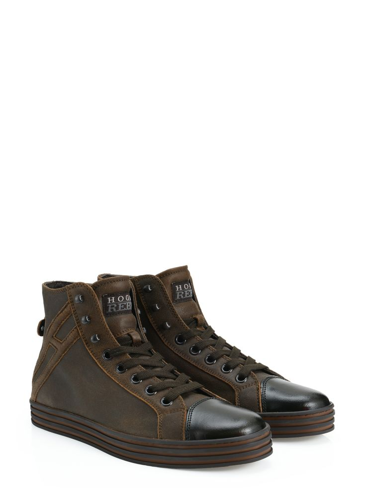 Hogan Rebel - R141 - HXM1410L4301Z6423L - Crackled-effect leather high-top sneakers with polished leather toecap, exposed stitching and logo on the side. For a rock style. - Leather upperHogan monogram on the sideRubber outsoleKidskin which has been tanned inside out. Due to the unique tanning process, sicoloration may occur. The vintage look is intentionalClean with a soft damp cloth, let dry thoroughlyDesigner dustbag includedMade in Romania