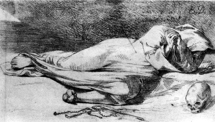 Monk at Prayer - Eugene Delacroix