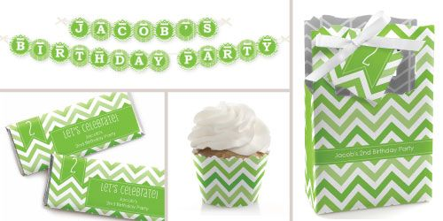 Chevron Green Birthday Party Theme