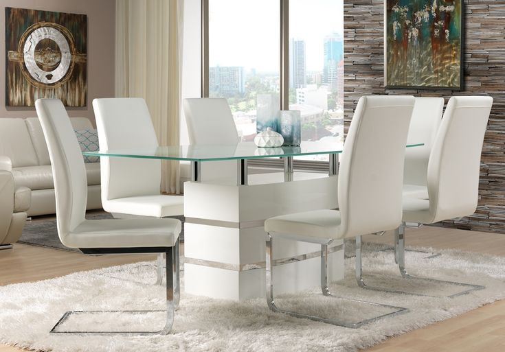 2018 Dining Table with White Leather Chairs - Modern Home Furniture Check more at http://www.ezeebreathe.com/dining-table-with-white-leather-chairs/