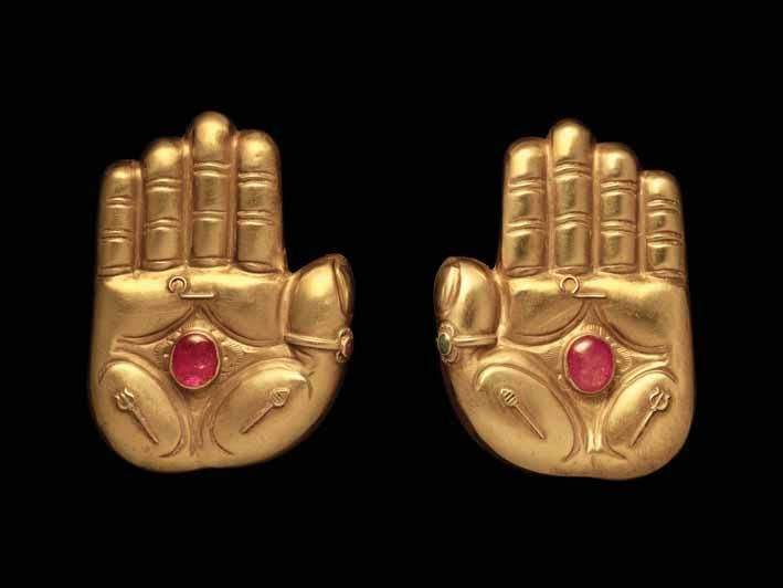 Pair of gem-set gold hand ornaments made to adorn a temple deity, south India, 18th century    Indian Temple Jewellery   Asian Art