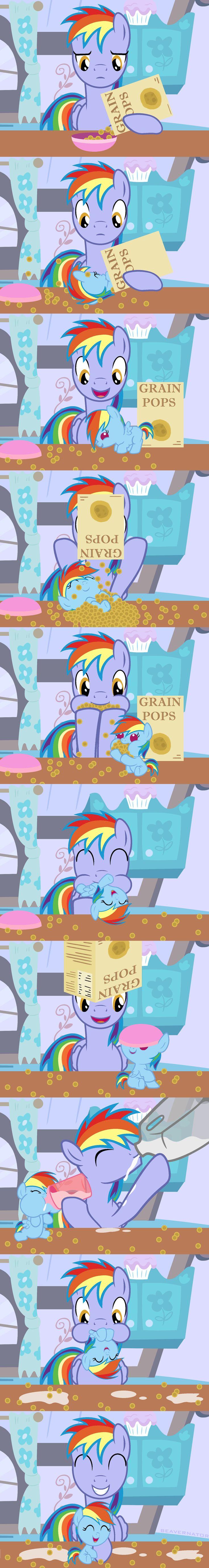 #667397 - artist:beavernator, baby dash, baby pony, beavernator is trying to murder us, cereal, comic, cute, dashabetes, father, father and daughter, filly, foal, milk, rainbow blaze, rainbow dash, safe, tummy buzz - Derpibooru - My Little Pony: Friendship is Magic Imageboard