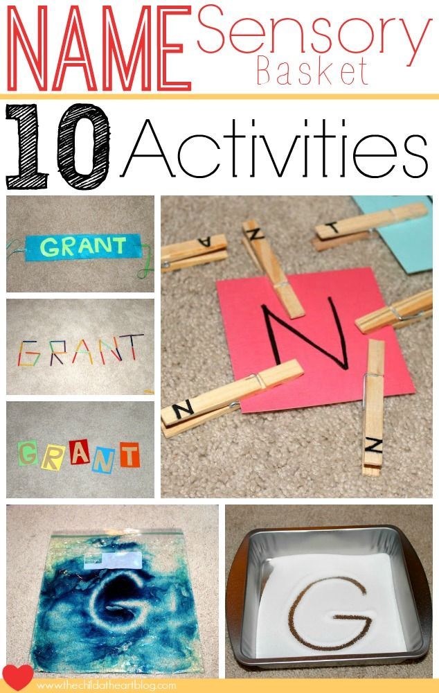 Name Activities Sensory Basket Learning Games #Cheap Name Stations for Kindergarten