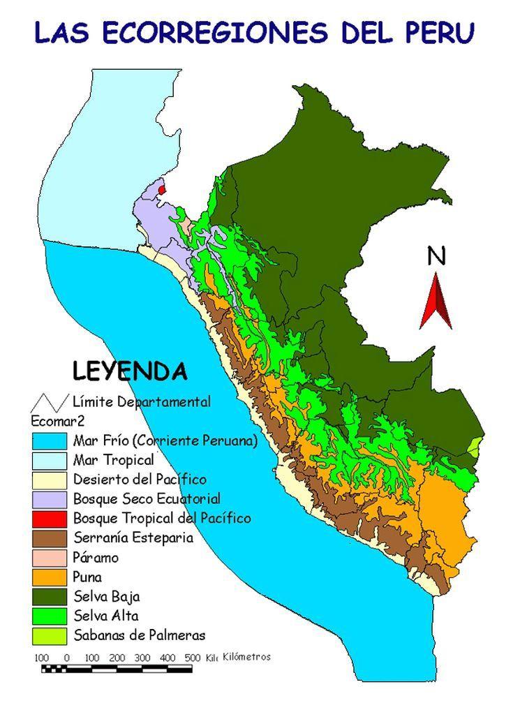 Mapas Del Peru Turismo Mapa De Las Ecorregiones Geografia Del Peru Peru Peru Mapa