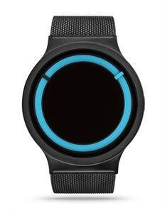 Reloj Ziiiro Eclipse Black Ocean, la elegancia del negro, con la luminosidad de la lectura de la hora en color azul mar, lo hacen muy compacto y resistente. www.relojes-especiales.net #mar #azul #blue #pvd