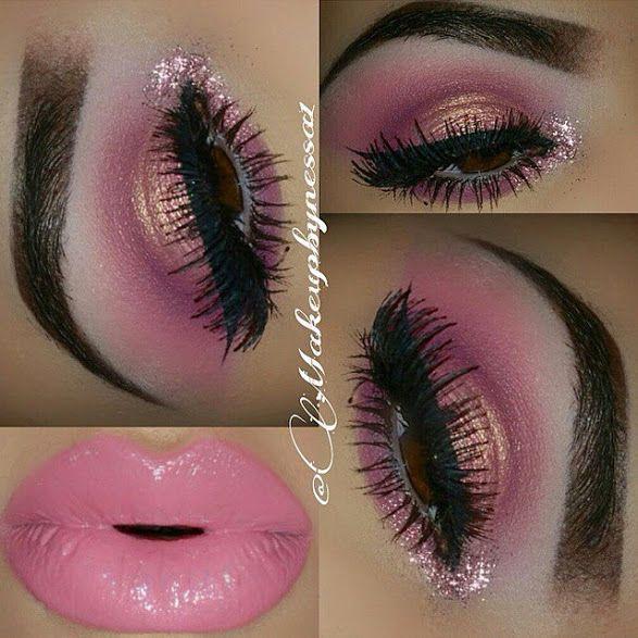Sombra rosa y dorado con gliter y labial rosa cremoso